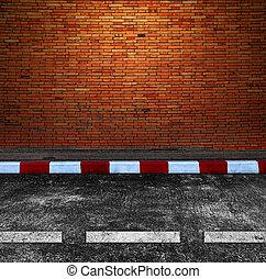 antigas, tijolo, parede, estrada, rua