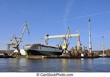 car carrier at docks - car carrier repaired at the shipyard