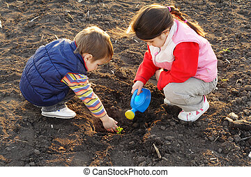 Little children on field seeding the plant