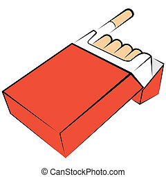 Cigarettes package - Illustration of opened red box with...