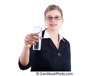 Business woman holding glass of water
