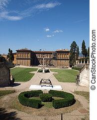 Boboli Gardens Amphitheatre and palazzo Pitti - Florence,...