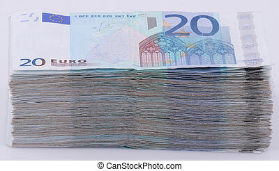 20 Euro bills - A wad of 20 Euro bills