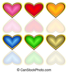 Set of multicoloured hearts.