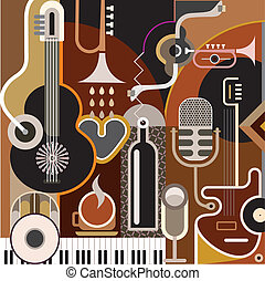 Abstract Music Background - vector illustration. Collage...