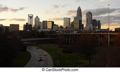Charlotte, North Carolina - Cars pass on I-74 below the...