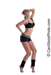 happy young woman dance in fitness cloth