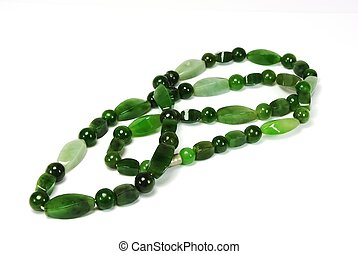 Jade beads - Beautyful green jade beads on white background