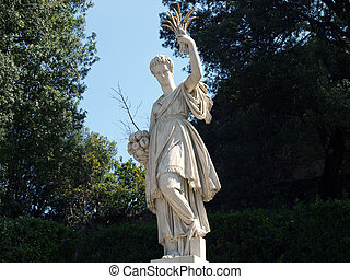 Florence - ancient sculpture in the gardens of Boboli