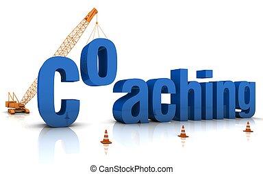 Coaching - Construction site crane building a blue 3D word....