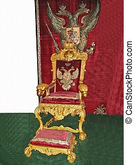 Throne of Russian imperiorswith twoheaded eagle above