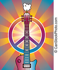 Tribute to Woodstock 2 - A tribute illustration of a guitar,...