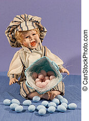 PORCELAIN DOLL - PORCELAIN BOY DOLL WITH BASKET AND EGGS