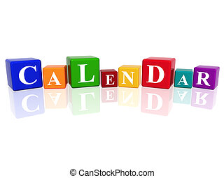 calendar in 3d cubes - 3d colourful cubes with letters makes...