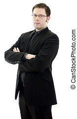 Portrait of a handsome young business man in glasses with arms crossed. Isolated on white background with copy space.
