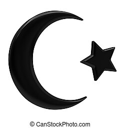 Crescent Islamic symbol isolated on a white background
