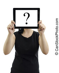 Woman holding tablet pc with question mark Isolated on white...