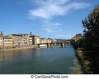 Florence - Buildings along Arno seen from Oltrarno