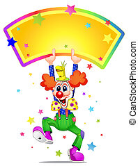 Clown mascot laughing and holding placard