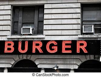 Red Burger Sign NYC - Burger Sign NYC