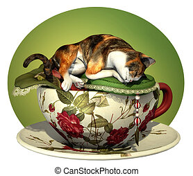 Cat n Cup Calico sleeping - a decorative illustration with a...