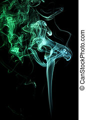green and teal smoke - abstract illuminated Smoke isolated...