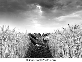 Surreal Field with woman - surreal photo of a woman floating...