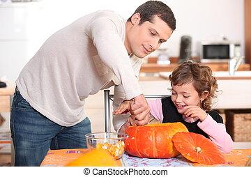 padre, figlia, arte dell'intaglio, zucche