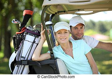 par, golfe, carreta