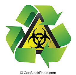 recycle biohazard sign illustration design over white...