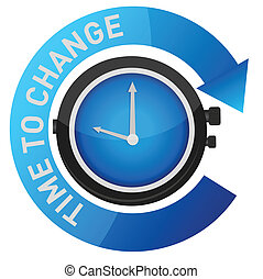 time to change concept illustration design over white