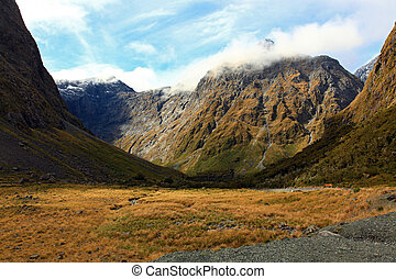 Mountain Landscape at the Milford Sound - New Zealand...