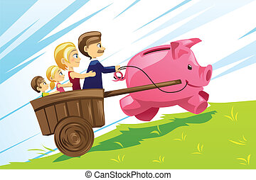 Family financial concept - A vector illustration of family...
