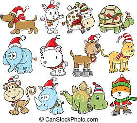 Holiday Christmas Winter Animal Vector Set