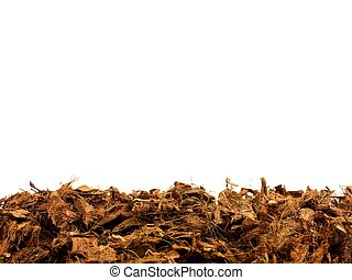 Mulch - Garden wood chip mulch isolated against a white...