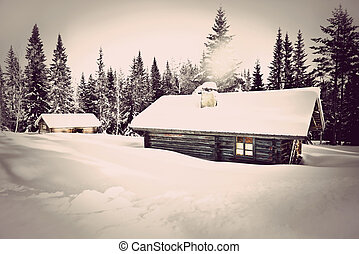 Vintage log cabin in snow - Remote log cabin in winter with...