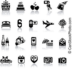 Set valentine's day icons, romantic travel