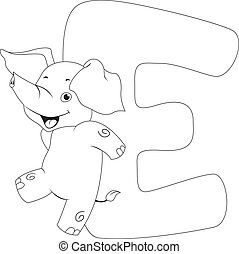 Coloring Page Elephant - Coloring Page Illustration...