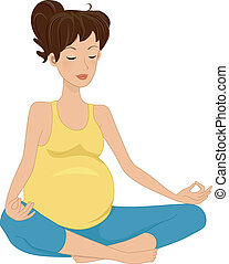 Pregnancy Meditation - Illustration of a Pregnant Woman...
