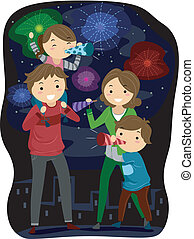 New Year's Eve - Illustration of a Family Celebrating the...