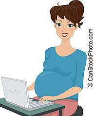 Pregnant Woman Using a Laptop - Illustration of a Pregnant...