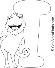 Coloring Page Iguana - Coloring Page Illustration Featuring...