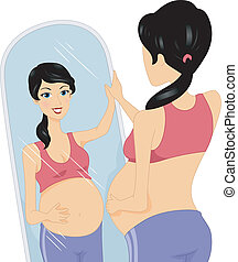 Pregnancy Check - Illustration of a Pregnant Woman Checking...