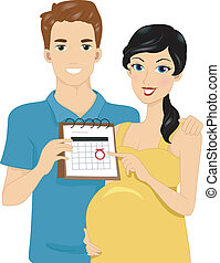 Due Date - Illustration of Expecting Parents Pointing to...