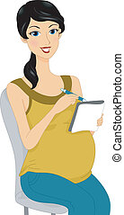 Pregnancy Plans - Illustration of a Pregnant Woman Doing...