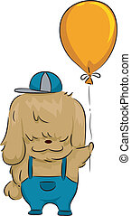 Balloon Dog - Illustration of a Dog Holding a Balloon