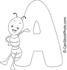 Coloring Page Ant - Coloring Page Illustration Featuring an...
