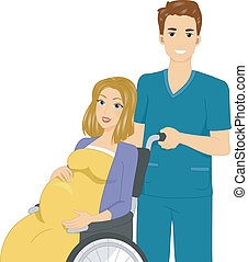 Pregnant Woman in a Wheelchair