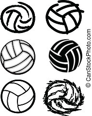 Volleyball Ball Vector Image Icons - Vector Group of Six...