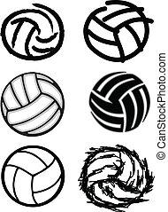 voleibol, bola, vetorial, imagem, ícones